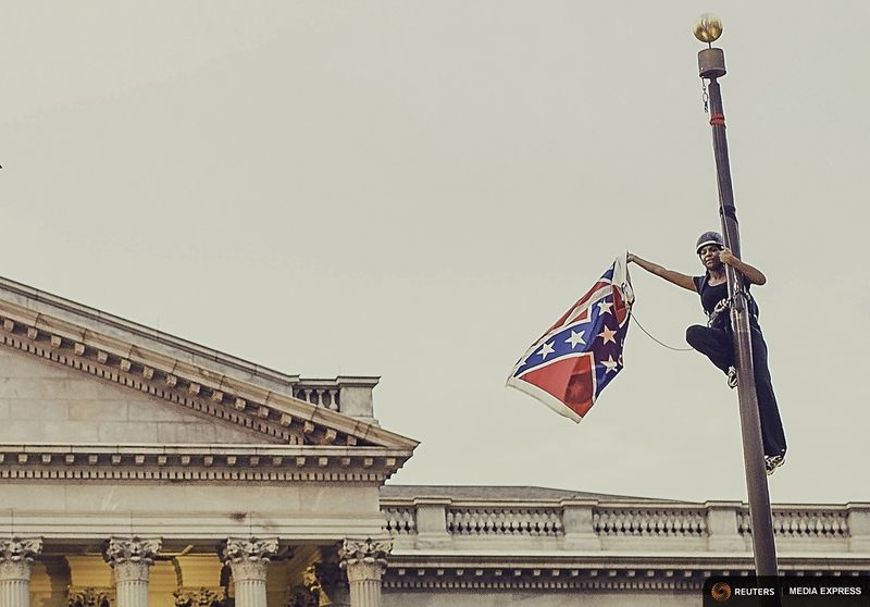 Bree Newsome at the South Carolina capital. (Reuters Media Express/Adam Anderson Photos)